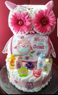 Owl diaper cake Creative Baby Cakes by Kelly