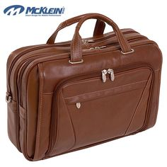 McKlein Irving Park Brown Leather Dual Compartment Laptop Briefcase | Overstock.com Shopping - The Best Deals on Leather Briefcases