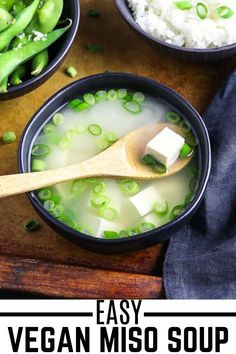 When in the need for fast, simple and delicious, then this Vegan Miso Soup is what you are looking for. It can be a great starter or a complete light meal. All you need are 5 ingredients and 15 minutes of your time to make this. #veganhuggs #misosoup #japanesesoup Vegan Breakfast Recipes, Vegan Recipes Easy, Vegetarian Recipes, Vegan Miso Soup, Vegan Soups, Vegan Crab, Vegan Tzatziki, Vegan Coleslaw, Eating Raw