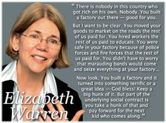 This brilliant woman is now running for the Senate in New York state. Elizabeth Warren.