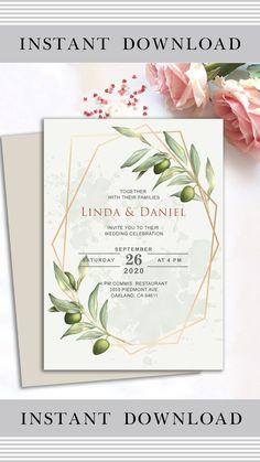 Wedding Invitation Layout, Free Wedding Invitation Templates, Botanical Wedding Invitations, Modern Wedding Invitations, Wedding Cards, Floral Invitation, Wedding Stationery, Geometric Wedding, Edit Text
