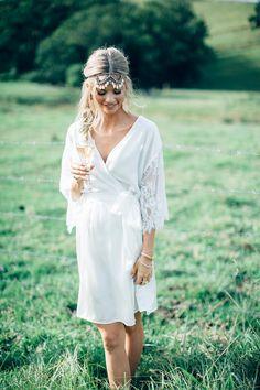Pure Silk & White Lace Sleeve Bridal Robe by IvyandMatilda