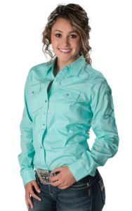 Wrangler® Women's Solid Turquoise with Rhinestones & Embroidery Long Sleeve Western Shirt | Cavender's
