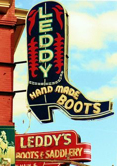 Leddy's Hand Made Boots (sign) - Fort Worth, TX by JoshuaPulis, via Flickr