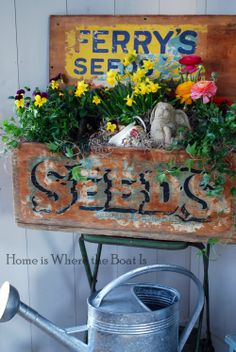 Spring Planting Spring planter box at the potting shed ~ homeiswheretheboatis Garden Junk, Garden Tools, Garden Ideas, Potted Garden, Garden Gate, Garden Crafts, Herb Garden, Garden Projects, Potted Plants