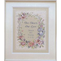 Two Hearts Wedding Record Stamped Cross Stitch Kit - 11