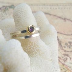 Sterling Silver, 14k Gold & Amethyst Stacking Wedding Ring Set. $200.00, via Etsy.