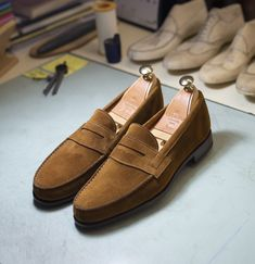 Restock our snuff suede unlined penny loafers. Featuring a single leather sole in a Flex Goodyear welt-construction. Available at Carmina website & stores Mens Loafers Shoes, Suede Oxfords, Leather Loafers, Loafer Shoes, Men's Shoes, Dress Shoes, Shoes Men, Wing Shoes, Men Dress