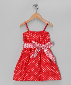 Take a look at this Sophie Catalou Red Polka Dot Bow Dress - Toddler & Girls by Sophie Catalou on #zulily today!