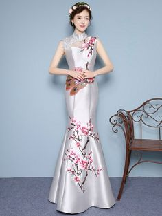 Custom Tailored Fishtail Qipao / Cheongsam Dress with Floral & Phoenix Embroidery - CozyLadyWear