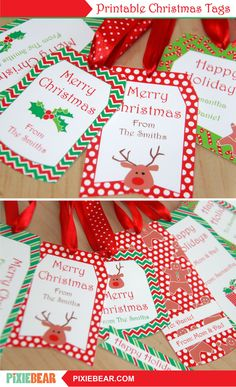 Christmas Gift Tags - Printable Christmas Labels, Personalized Christmas Tags for Kids, Editable Holiday Tags Template, Xmas To From Tags Christmas Gift Tags Printable, Christmas Labels, Holiday Gift Tags, Printable Tags, Christmas Printables, Party Printables, Printable Templates, Christmas Stickers, Holiday Ideas