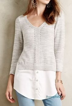 New ANTHROPOLOGIE Moth Womens XS Aselin Layered Pullover Sweater Top Blouse #Anthropologie #Tunic