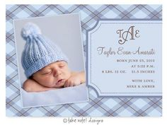 Boy Birth Announcement Taylor Evan Plaid-Photo Birth Announcement Card, Baby Boy Birth Announcement