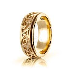 10k Yellow Gold Celtic Triskele Wedding Band Polish 8mm 01667