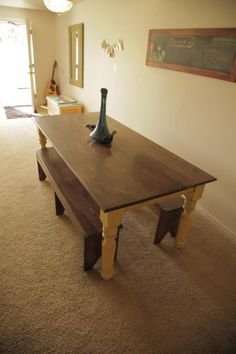 I want to make this!  DIY Furniture Plan from Ana-White.com  Build a farmhouse table with turned legs! Free plans from Ana-White.com