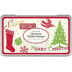 "Cavallini Holiday Rubber Stamp Set. Vintage rubber stamps designs packaged into a decorative storage tin. Tin contains 3 stamps: Stocking, Christmas Tree and the phrase Merry Christmas, perfect for holiday crafting or a great gift. High quality stamps based on authentic vintage designs from Cavallini & Co. Size - tin size 3 1/2"" x 4 1/2"" x1"". Price: $13.98"