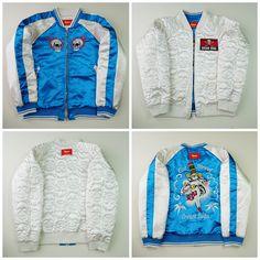 Vintage Japanese Cat Street Tora Knife Skull Punk Rock Cream Soda Blue White Tiger Royal Blue Embroidered Sukajan Souvenir Jacket -…