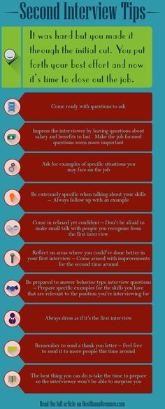Getting invited back for a second interview can be nerve wracking. Follow these tips to score some big points the second time around. (scheduled via http://www.tailwindapp.com?utm_source=pinterest&utm_medium=twpin&utm_content=post62364410&utm_campaign=scheduler_attribution)