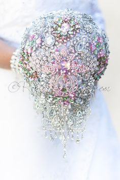 Forever Yours cascade crystal pink bridal brooch bouquet - Ruby Blooms