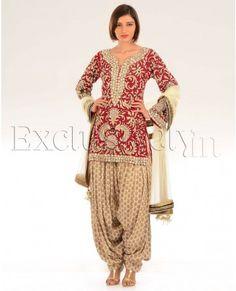 Dramatic red vintage embroidered kurta with banarsi salwar and dupatta (Payal Singh( $1520). Nice draping on the salwar.