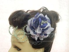Handmade organza and satin flower fascinator in lilac and purple