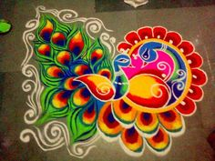 Here is the 15 best Colourful Rangoli Designs and Patterns that can add the colour to your festive decorations. Rangoli Designs Peacock, Rangoli Designs Latest, Simple Rangoli Designs Images, Colorful Rangoli Designs, Rangoli Designs Diwali, Diwali Rangoli, Beautiful Rangoli Designs, Kolam Designs, Easy Rangoli