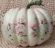 Hand Painted Foam Pumpkin Fall Cottage Chic Pink Roses Hydrangeas Shabby Lace HP