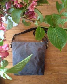 Waxed bag Hand painted bag organic cotton canvas by AlannahBrid