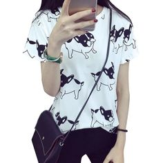 Cheap shirt leopard, Buy Quality shirts medium directly from China top 10 waterproof mascara Suppliers: 2018 New Korean Cartoon Pug Printed Short Sleeved ShirtsT-Shirt White Plus Size Casual Loose O-neck Pullovers Shirts Women Tops Loose Shirts, Casual T Shirts, Plus Size Casual, T Shirts For Women, Clothes For Women, Korean Women, Printed Shorts, Pulls, White Pug