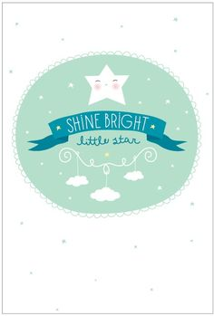 a Little Lovely poster: Shine bright A4. Dubbelzijdige poster met ster en tekst: shine bright little star. Poster heeft een formaat van 21 x 29,7 cm, dit is een A4.