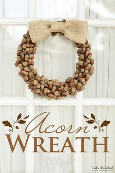 Acorn Crafts Critters | Fall Wreath with Rustic Acorns and Burlap