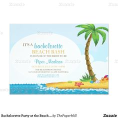 Bachelorette Party at the Beach Tropical Island 5x7 Paper Invitation Card