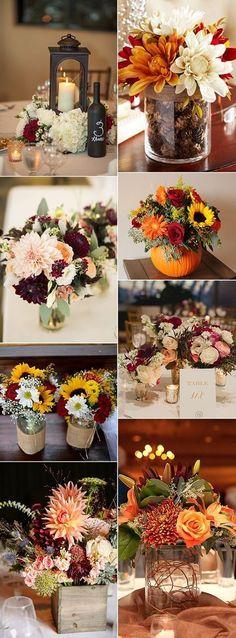 country rustic fall wedding centerpiece ideas #weddingflowers