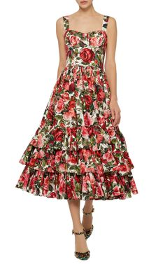 Rose Print Poplin Bustier Dress by Dolce & Gabbana 70s Outfits, Pretty Outfits, Girl Outfits, Lace Summer Dresses, Nice Dresses, Evening Dresses, Casual Dresses, Fashion Dresses, Bustier Dress