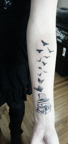 My books tattoo with birds made in 2017, Perfect Chaos tattoo Budapest