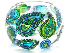 Hand Painted Glass Bowl, Blue-Green..