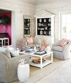 Beachy living room.