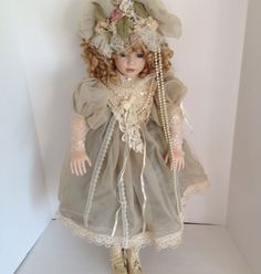 """Elise Massey Collection 30"""" Victorian Doll Blond Curly Hair Blue Eye Pearls Lace 