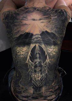 Angel Back Tattoos For Men - Best Angel Tattoos: Cool Angel Tattoo Designs and Ideas For Men - Guardian Angels, Warrior Angels, Praying Weird Tattoos, Sweet Tattoos, 3d Tattoos, Skull Tattoos, Body Art Tattoos, Tattoos For Guys, Tattoos For Women, Good And Evil Tattoos, Tatoos
