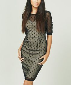 Look what I found on #zulily! Black & Nude Spot on Party Three-Quarter Sleeve Dress #zulilyfinds