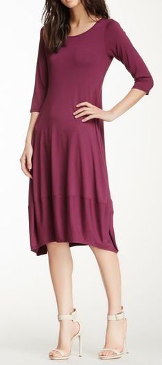 Eileen Fisher Lantern Solid 3/4 Sleeve Dress