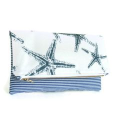 Starfish  Nautical  Foldover clutch