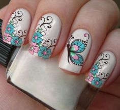 nail designs for summer french tip nail designs for short nails nail stickers walmart nail art stickers at home essie nail stickers Nail Art Designs, Butterfly Nail Designs, Butterfly Nail Art, Short Nail Designs, Nails Design, Floral Designs, Butterfly Kisses, Spring Nails, Summer Nails