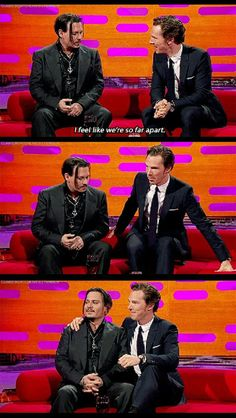 Benedict Cumberbatch and Johnny Depp on the Graham Norton Show [gifset]<<< my two favorite actors Sherlock Bbc, Benedict Cumberbatch Sherlock, Dc Memes, Funny Memes, Funny Videos, Stupid Funny, Hilarious, Fangirl, Norton Show
