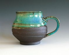 turquoise hand thrown coffee mug