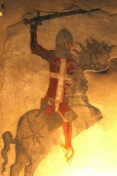 Casa delle Guardie, affresco, metà XIV sec - Castello di Avio, Sabbionara di Avio.