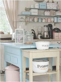 Cottage style decor kitchen, white, blue, pink, open shelves, table as island; Upcycle, Recycle, Salvage, diy, thrift, flea, repurpose!  For vintage ideas and goods shop at Estate ReSale & ReDesign, Bonita Springs, FL
