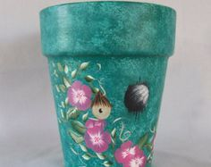 Shamrock Flower Pot Original Hand Painted by DesignsByDesa on Etsy