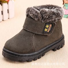 AFDSWG winter boots for children thick warm plush black kids boots girls  red leather boots martens ed1ea393324a