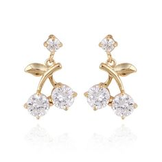 1.3x2cm Lovely Cherry Shaped 18K Gold Plated Copper Earring Inlaid Zircon Ladies Earrings